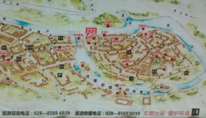 Detailed map of Huanglongxi with tourist information contact details