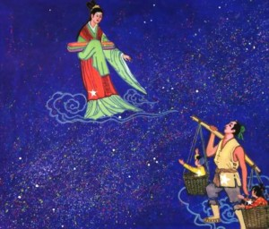 On the edge of the Milky Way the Weaving Girl (Vega) watches the Herd Boy (Altair) bearing children in baskets at opposite ends of right shoulder-borne bamboo pole.