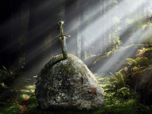 Excalibur depicted as the Sword in the Stone